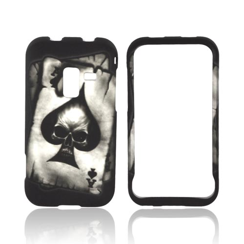 Samsung Conquer 4G Rubberized Hard Case - Ace Skull on Gray