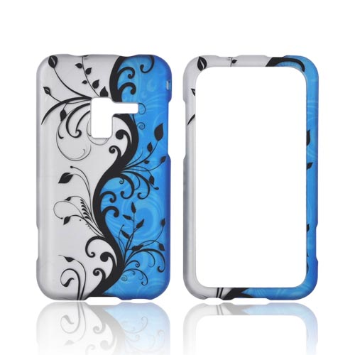 Samsung Conquer 4G Rubberized Hard Case - Black Vines on Blue/ Silver