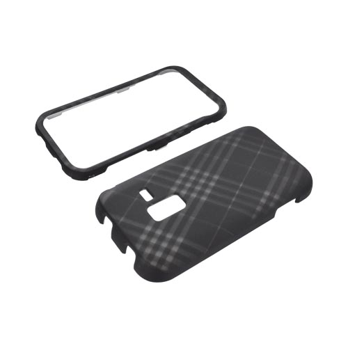 Samsung Conquer 4G Rubberized Hard Case - Gray Plaid on Black