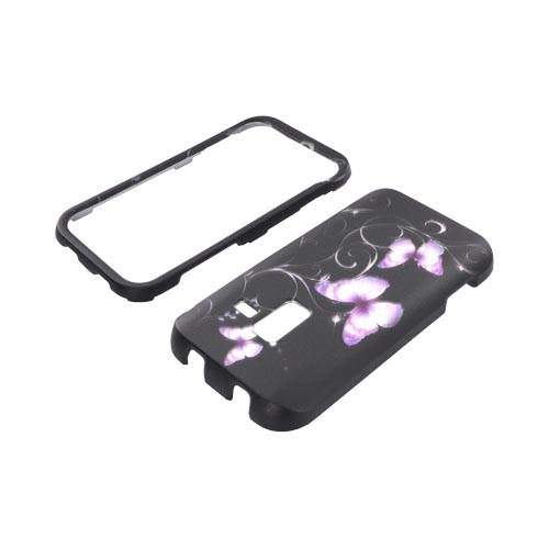 Samsung Conquer 4G Rubberized Hard Case - Purple Butterflies on Black