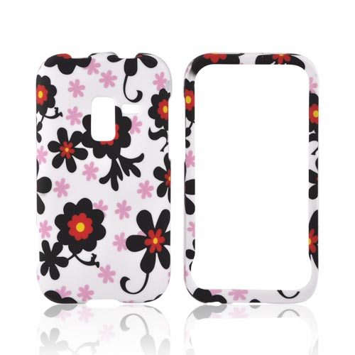 Samsung Conquer 4G Rubberized Hard Case - Red/ Black Daisies on White