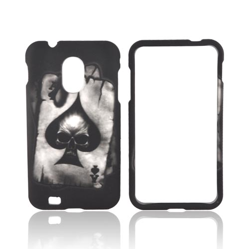 Samsung Epic 4G Touch Rubberized Hard Case - Ace Skull on Gray