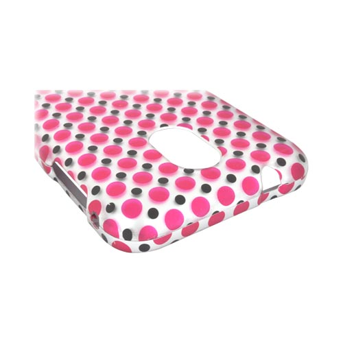 Samsung Epic 4G Touch Rubberized Hard Case - Pink/ Black Polka Dots on Silver
