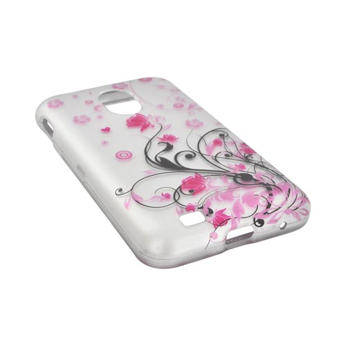 Samsung Epic 4G Touch Rubberized Hard Case - Pink Vines & Flowers on Silver