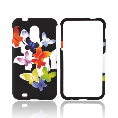 Samsung Epic 4G Touch Rubberized Hard Case - Rainbow Butterflies on Black