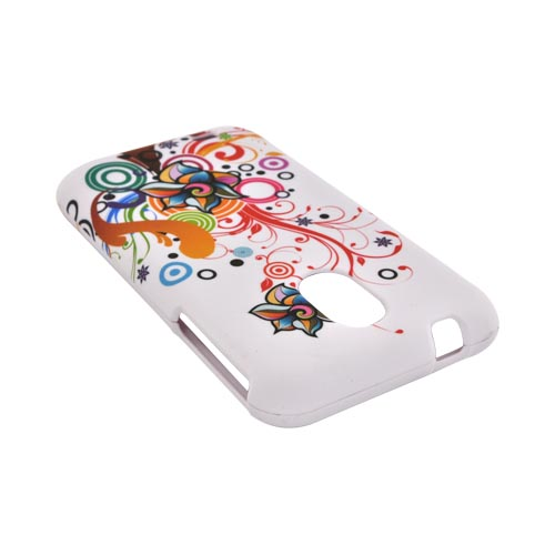 Samsung Epic 4G Touch Rubberized Hard Case - Rainbow Autumn Floral Design on White