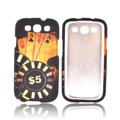 Samsung Galaxy S3 Rubberized Hard Case - Black/ Gold Aces Poker