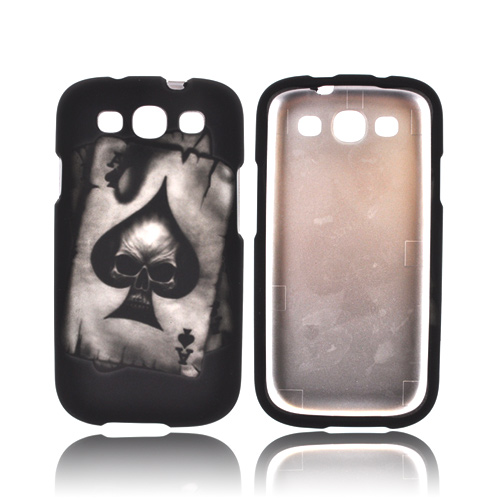 Samsung Galaxy S3 Rubberized Hard Case - Ace Skull on Black