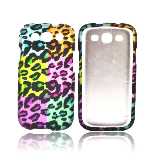 Samsung Galaxy S3 Rubberized Hard Case - Multi-Colored Artsy Leopard