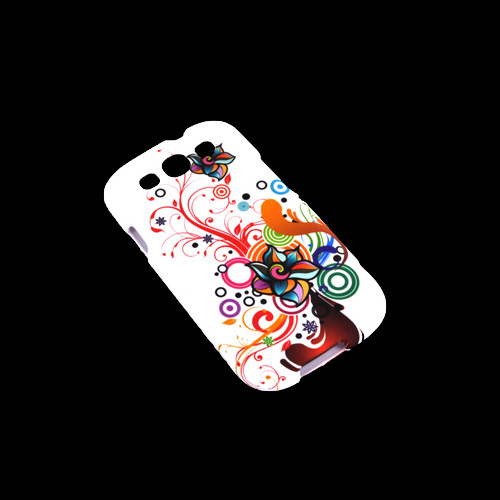 Samsung Galaxy S3 Rubberized Hard Case - Autumn Floral Burst on White