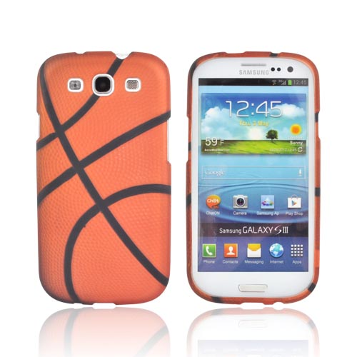 Samsung Galaxy S3 Rubberized Hard Case - Orange/ Black Basketball