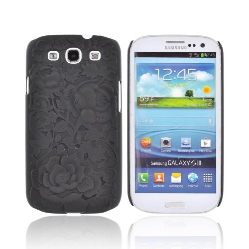 Samsung Galaxy S3 Rubberized Hard Case w/ 3D Texture - Black Roses & Vines