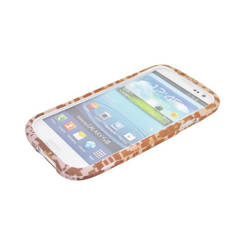 Samsung Galaxy S3 Rubberized Hard Case - Brown/ Beige Digital Camouflage