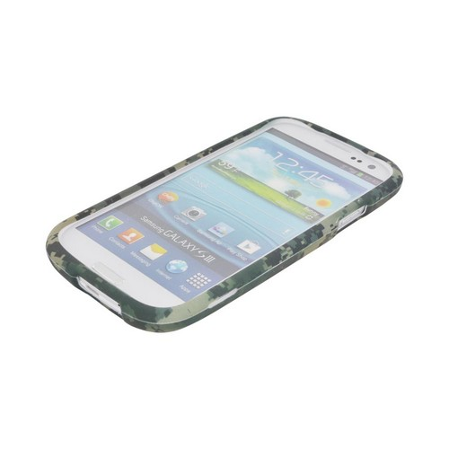 Samsung Galaxy S3 Rubberized Hard Case - Forest Green/ Olive Green Digital Camouflage