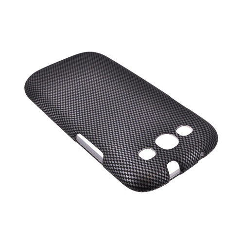 Samsung Galaxy S3 Rubberized Hard Case - Black/ Gray Carbon Fiber