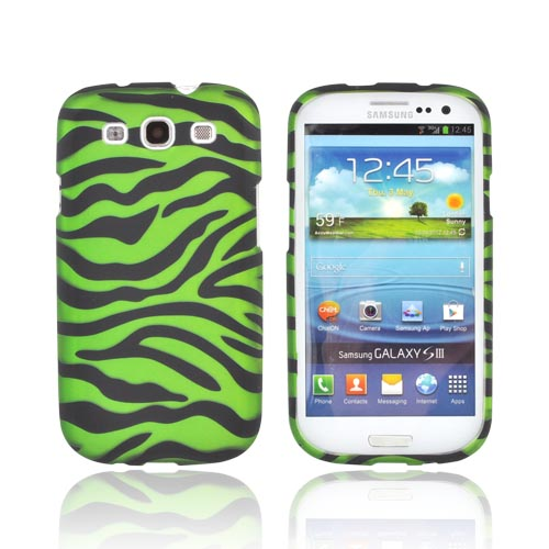 Samsung Galaxy S3 Rubberized Hard Case - Green/ Black Zebra