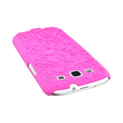 Samsung Galaxy S3 Rubberized Hard Case w/ 3D Texture - Hot Pink Roses & Vines
