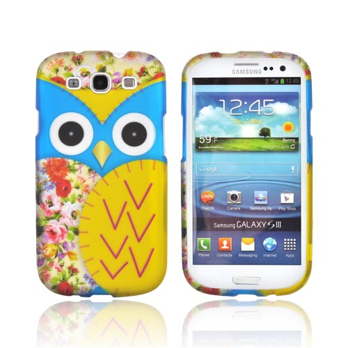 Samsung Galaxy S3 Rubberized Hard Case - Blue/ Gold Owl Design