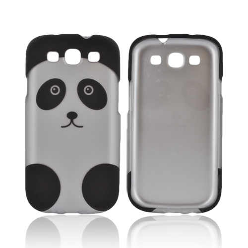 Samsung Galaxy S3 Rubberized Hard Case - Silver/ Black Panda