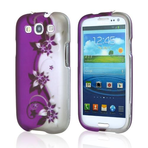 Samsung Galaxy S3 Rubberized Hard Case - Purple Vines/ Flowers on Silver