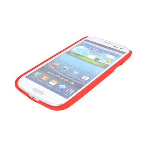 Samsung Galaxy S3 Rubberized Back Cover w/ ID Slot - Red