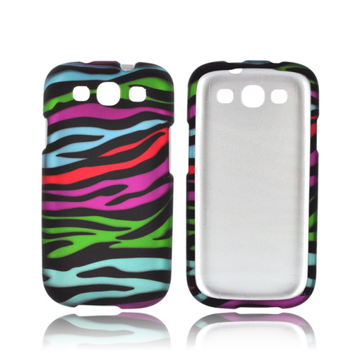 Samsung Galaxy S3 Rubberized Hard Case - Rainbow Zebra on Black