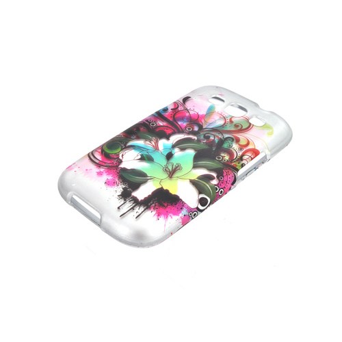 Samsung Galaxy S3 Rubberized Hard Case - Green/ Pink Watercolor Lilies
