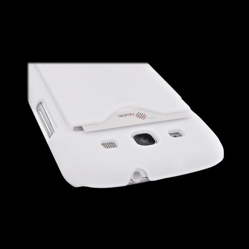 Samsung Galaxy S3 Rubberized Back Cover w/ ID Slot - White