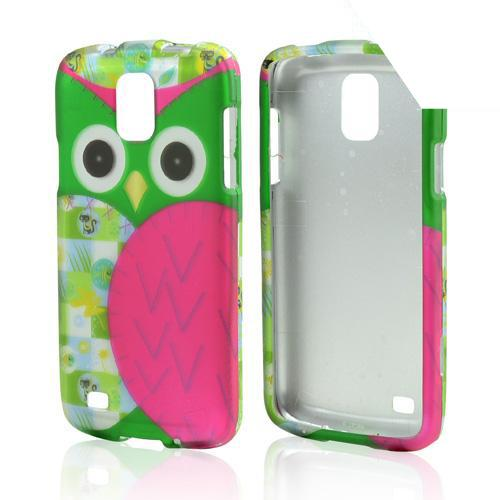 Hot Pink / Green Owl Rubberized Hard Case for Samsung Galaxy S4 Active