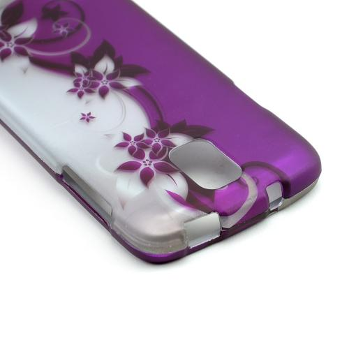 Purple Vines/ Flowers on Silver Rubberized Hard Case for Samsung Galaxy S4 Active