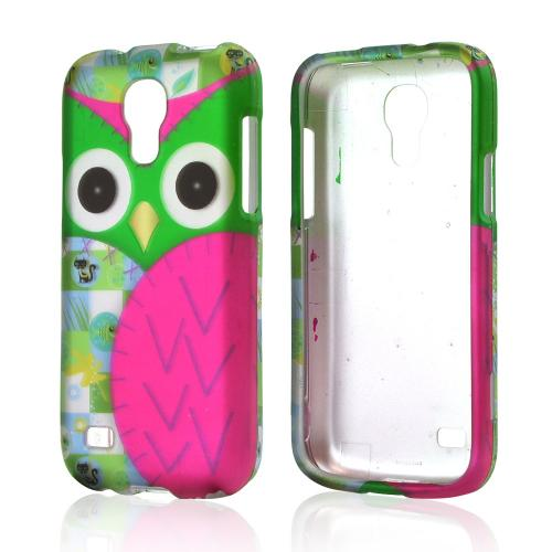 Hot Pink / Green Owl Rubberized Hard Case for Samsung Galaxy S4 Mini
