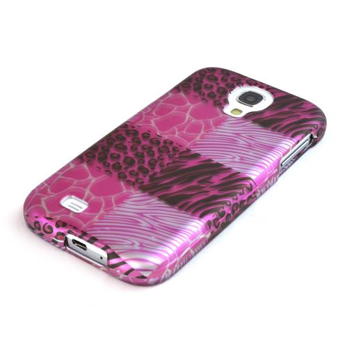 Pink Animal Print Rubberized Hard Case for Samsung Galaxy S4