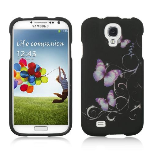 Purple Butterflies on Black Rubberized Hard Case for Samsung Galaxy S4