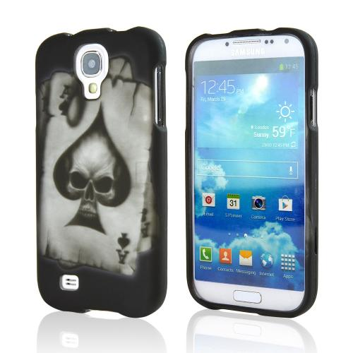 Ace Spade Skull on Black Rubberized Hard Case for Samsung Galaxy S4