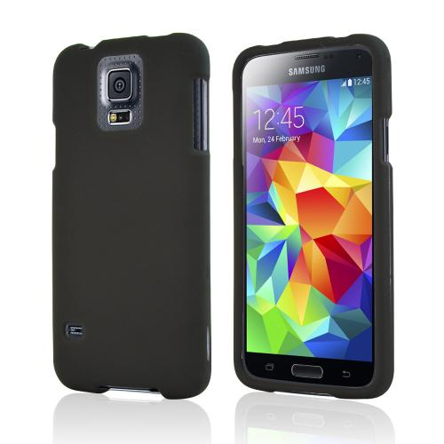 Rubberized Hard Plastic Case for Samsung Galaxy S5 [Black]