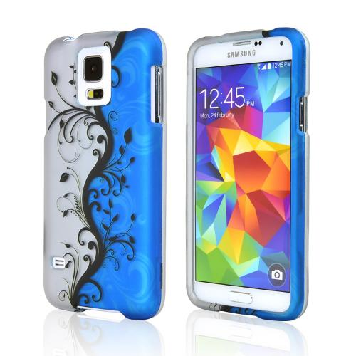 Black Vines on Silver/ Blue Rubberized Hard Case for Samsung Galaxy S5