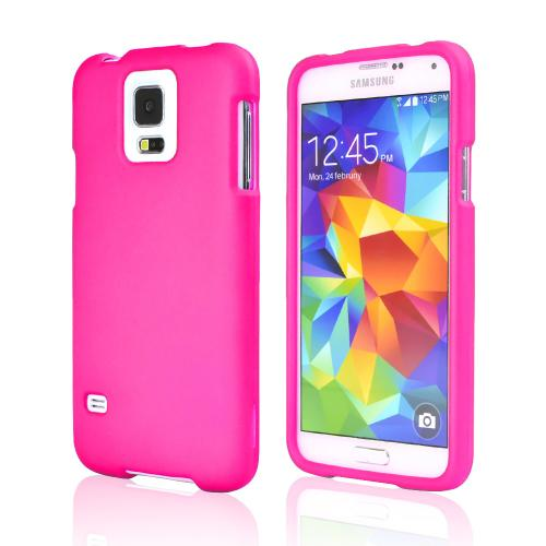 Hot Pink Rubberized Hard Case for Samsung Galaxy S5