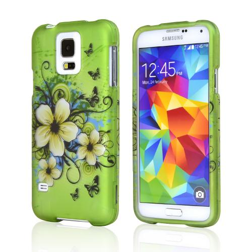 White Hawaiian Flowers on Green Rubberized Hard Case for Samsung Galaxy S5