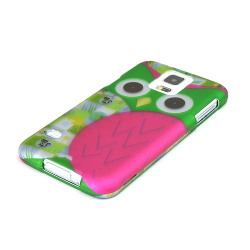 Hot Pink / Green Owl Rubberized Hard Case for Samsung Galaxy S5