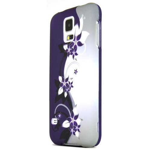 Black Vines on Silver/ Purple Rubberized Hard Case for Samsung Galaxy S5