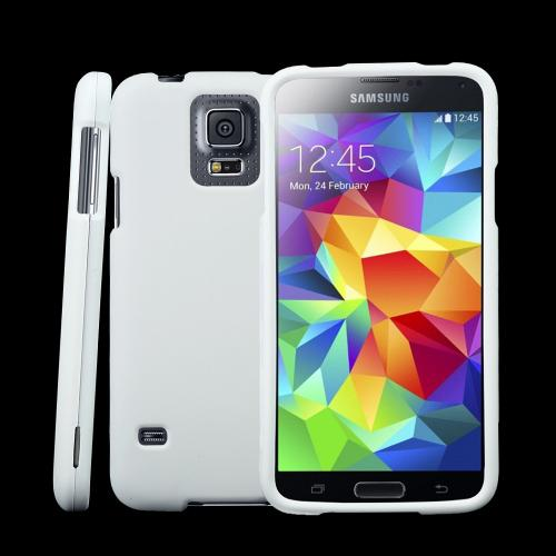 White Rubberized Hard Plastic Case for Samsung Galaxy S5