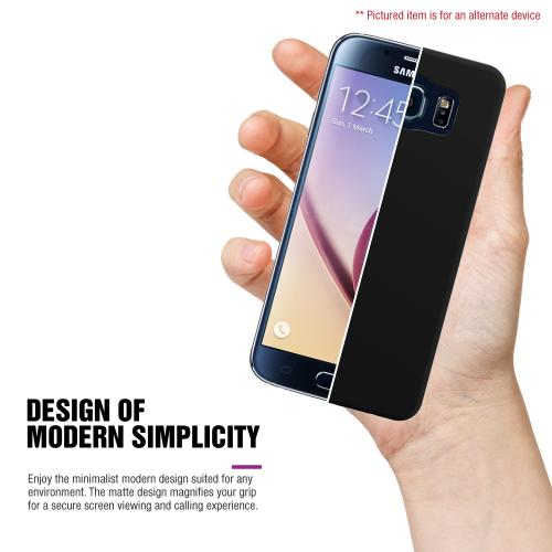 Samsung Galaxy S6 Active Case, BLACK Slim Grip Rubberized Matte Snap-on Hard Polycarbonate Plastic Protective Case