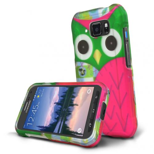 Samsung Galaxy S6 Active Case, [Green Owl] Slim & Protective Rubberized Matte Hard Polycarbonate Plastic Protective Case