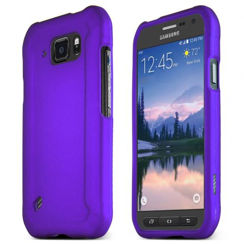 Samsung Galaxy S6 Active Case, PURPLE Slim Grip Rubberized Matte Snap-on Hard Polycarbonate Plastic Protective Case