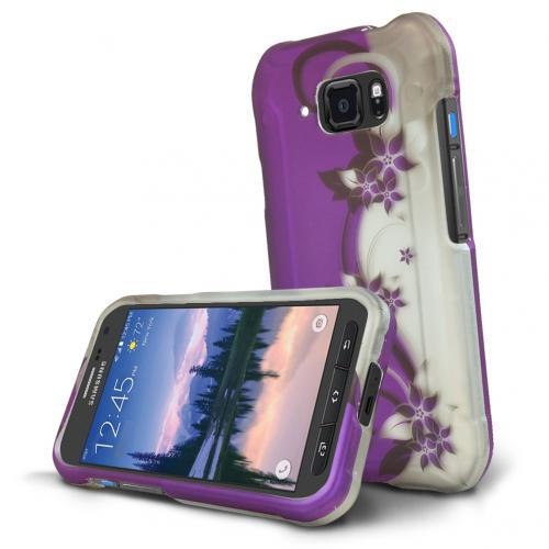 Samsung Galaxy S6 Active Case, [Purple Vines] Slim & Protective Rubberized Matte Hard Polycarbonate Plastic Protective Case
