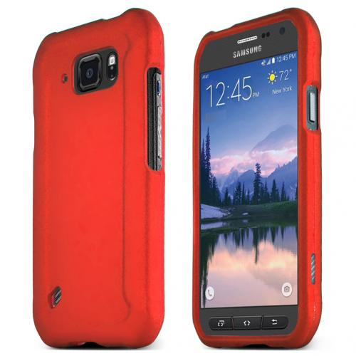 Samsung Galaxy S6 Active Case, RED Slim Grip Rubberized Matte Snap-on Hard Polycarbonate Plastic Protective Case