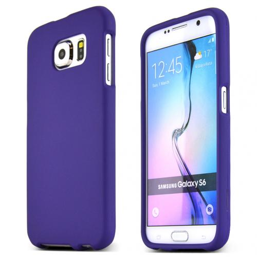 Samsung Galaxy S6 Case,  [Purple]  Slim & Protective Rubberized Matte Finish Snap-on Hard Polycarbonate Plastic Case Cover