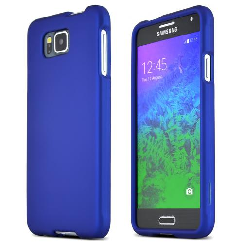 Samsung Galaxy Alpha Protective Rubberized Hard Case - Anti-slip Matte Rubber Material [Perfect Fitting Samsung Galaxy Alpha (2014) Case] [blue]