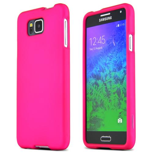 Samsung Galaxy Alpha Protective Rubberized Hard Case - Anti-slip Matte Rubber Material [Perfect Fitting Samsung Galaxy Alpha (2014) Case] [hot Pink]