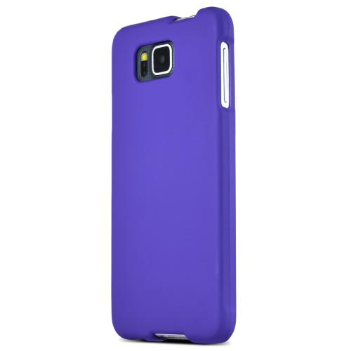 Samsung Galaxy Alpha Protective Rubberized Hard Case - Anti-slip Matte Rubber Material [Perfect Fitting Samsung Galaxy Alpha (2014) Case] [purple]